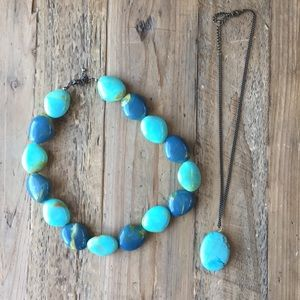 Two Turquoise Color Beaded Necklaces